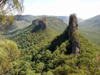 Photo of 'The Steamers' - a prominent, narrow rock outcrop along the Great Escarpment in Queensland.