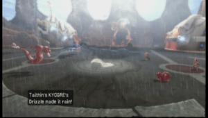 Tathin'sKyogre in Wii game Pokémon Battle Revolution bringing the rain.