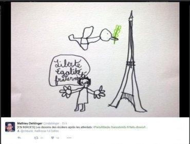 I bimbi francesi a casa ne hanno parlato con i genitori, in classe hanno affrontato l'argomento con i maestri, producendo dei disegni come questo che vi mostriamo.