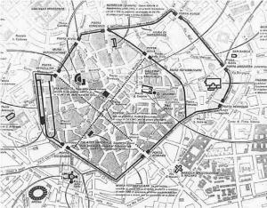 La Milano romana, con l'ampliamento voluto da Massimiano a destra, al cui interno spicca l'enorme complesso termale a Est