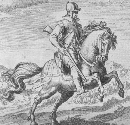 Spesso i figli cadetti delle famiglie nobili divenivano soldati di ventura (nell'immagine, archibugiere a cavallo in una incisione del '600)