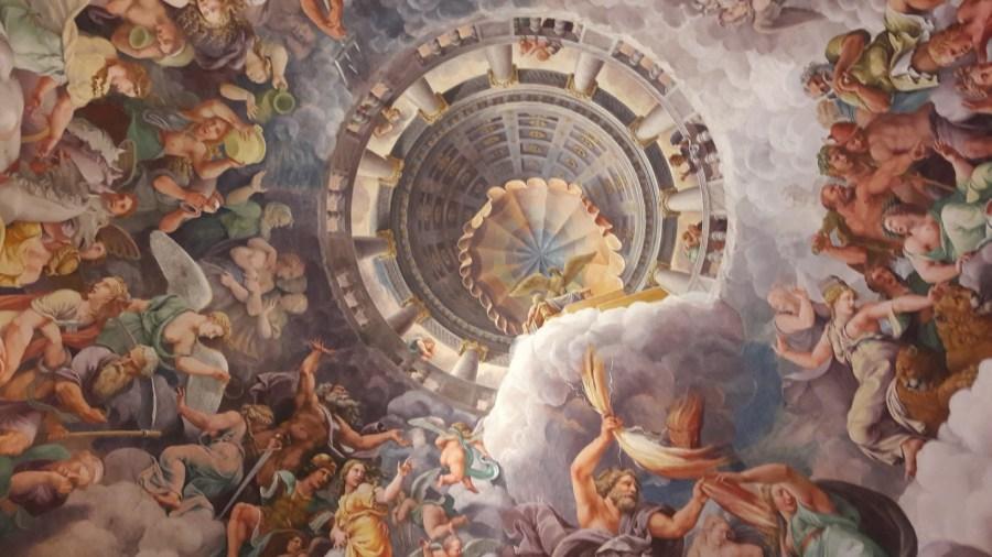 Il soffitto della Sala dei Giganti a Palazzo Te- Mantova (foto di Robert Ribaudo)