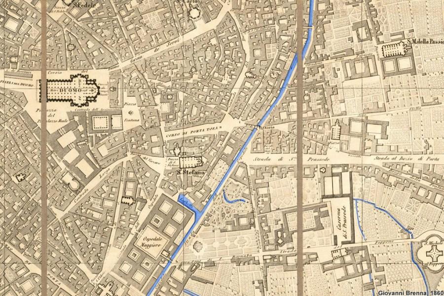 Dalla Carta del Brenna del 1860 si possono vedere i tre conventi incastrati tra la Strada di S. Prassede (poi Porta Vittoria) e la Strada del Foppone (poi Via S. Barnaba), in basso al centro