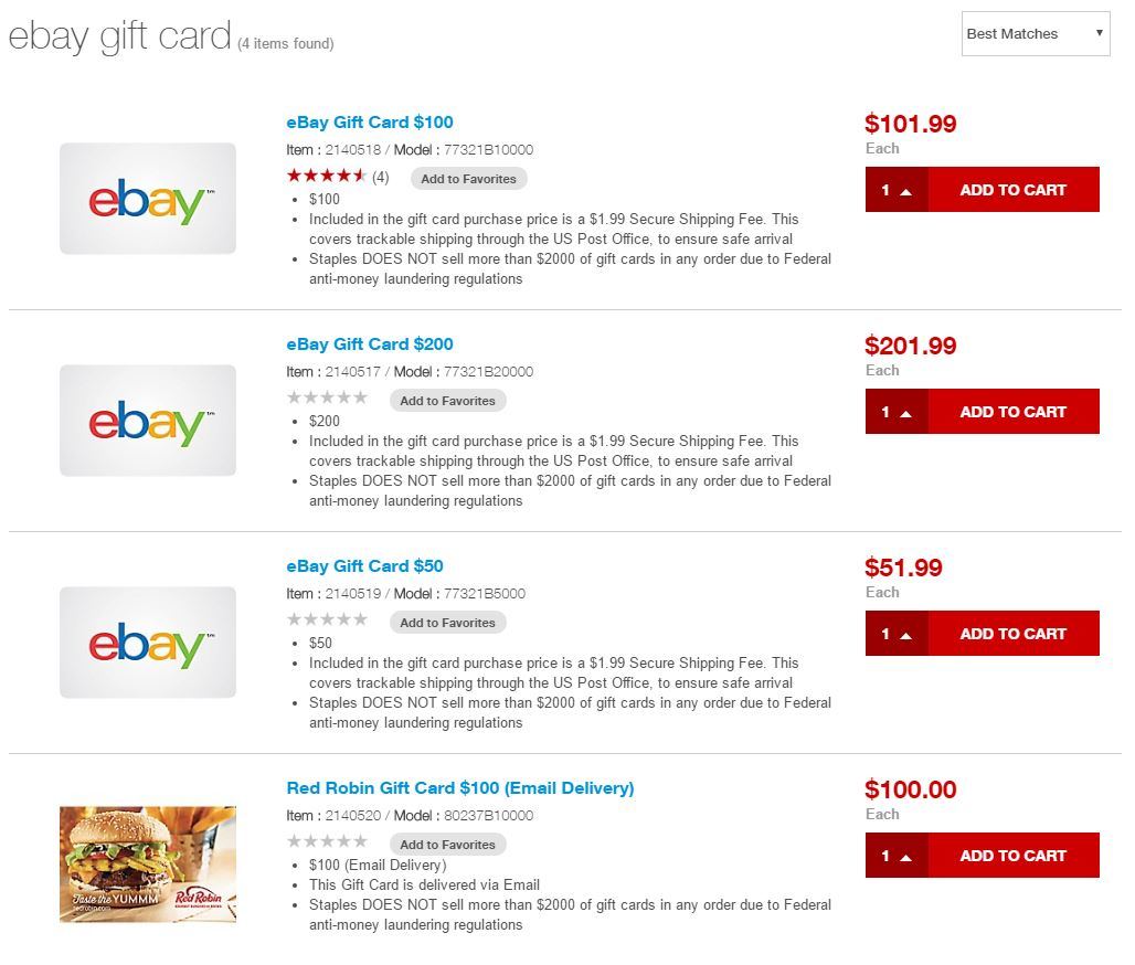 Staples removes Ebay electronic gift cards from their site and wtf ...