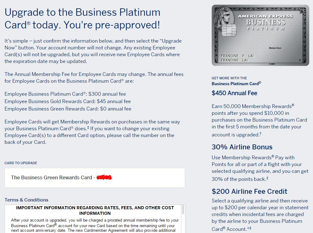 Upgrade from the AMEX Business Green card to the Platinum and get ...