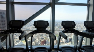 Park Hyatt Tokyo gym with a view.