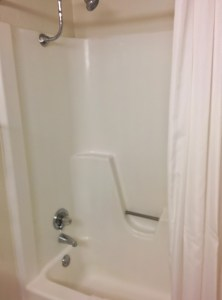 The basic bath/shower combo was clean, but not fancy.