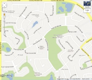 Map of Calgary, Alberta suburb with identically named roadways (Image source: Google Maps)