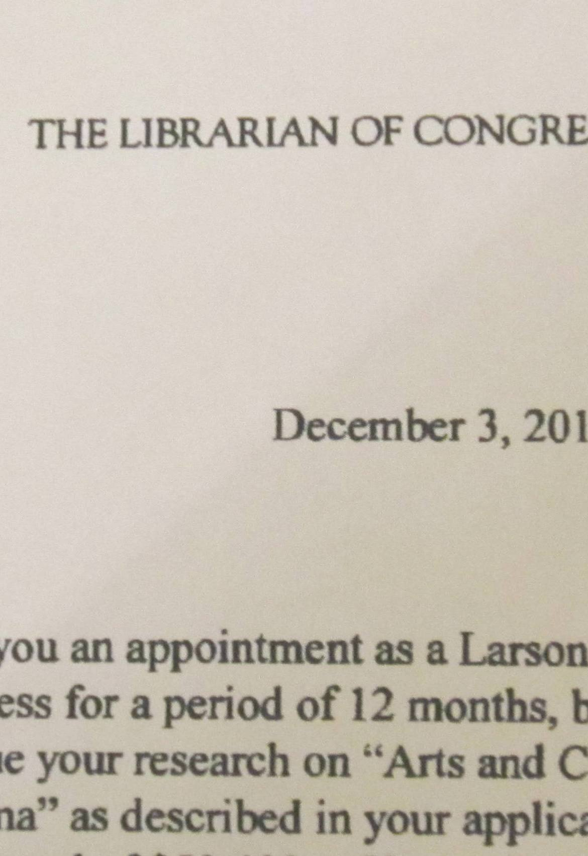 Library of Congress_Larson Fellowship Letter