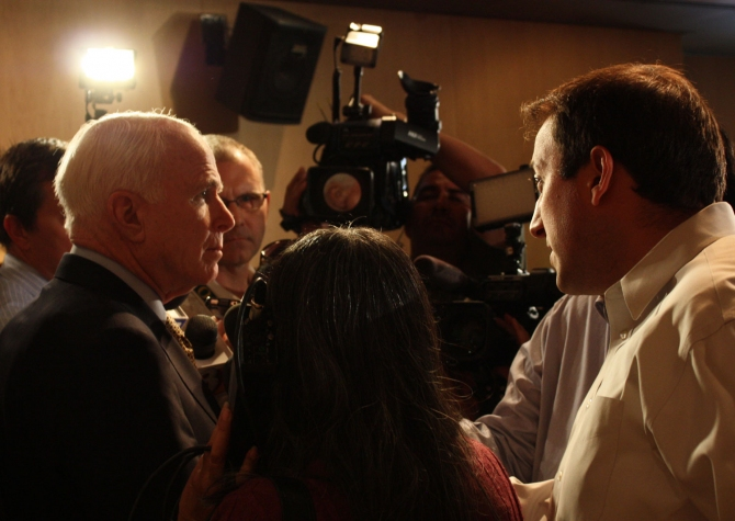 John McCain at the veterans town hall meeting.