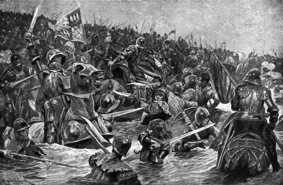 Warriors of the Middle Ages believed that faith in God would ward off the psychological trauma of battle. (Image source: WikiCommons)