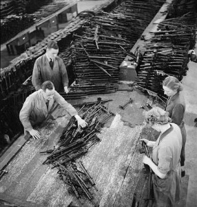 The shop floor of a British sten gun factory.