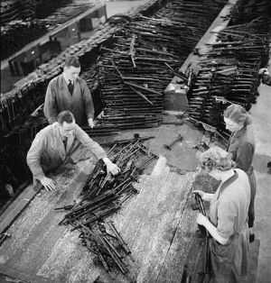 The shop floor of a British sten gun factory.
