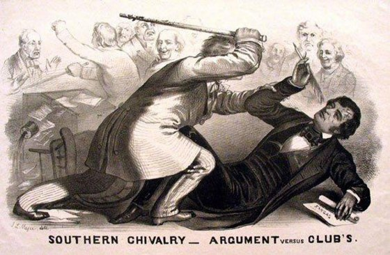 A pro-Slavery southern Congressman beat abolitionist Charles Sumner in the U.S. Senate.