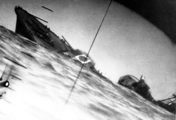 Another Japanese vessel falls prey to a American submarine. The U.S. Navy's 'silent service' was instrumental in the Allied victory in the Pacific. (Image source: WikiCommons)