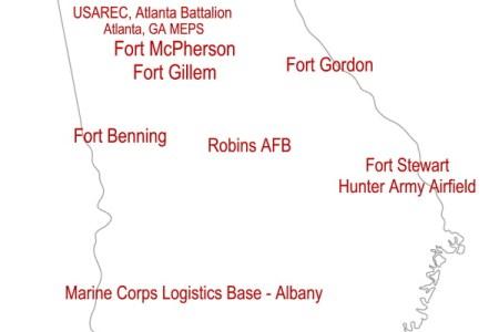Ideas Map Of Georgia Military Installations On - Georgia map military bases