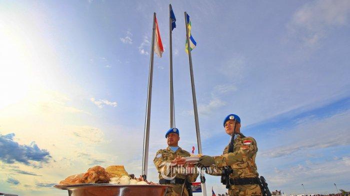 Prajurit TNI Peringati HUT TNI ke-70 di Afrika