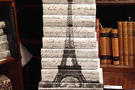 vintage decor eiffel tower books