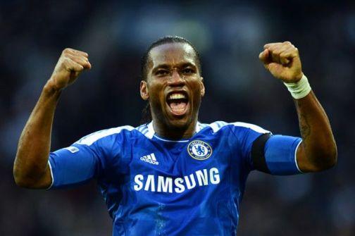 Didier Drogba celebrates Chelsea goal in FA Cup semi final win over Tottenham 2012