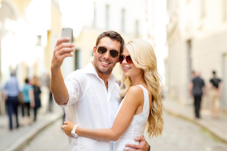 couple takes photo together