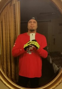 Getting ready for my Friday morning 3.1 mile warmup run.