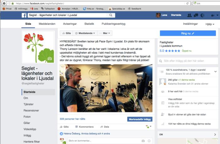 Seglets facebookhantering
