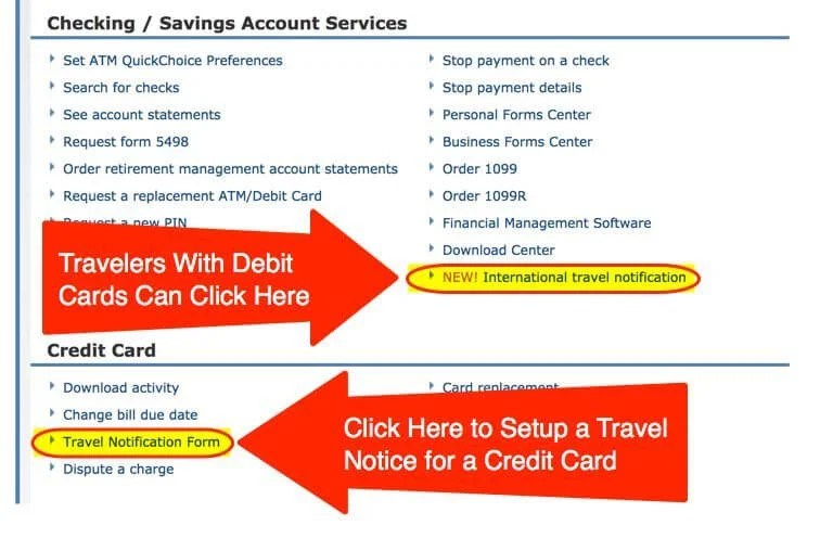 Chase Credit Card Travel Notification Form Find Your World