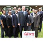 Mayor Tom Barrett is surrounded by prominent elected offi cials representing Milwaukee and Wisconsin following a brainstorming meeting regarding his run for governor. (Photo by Robert A. Bell)
