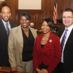 State Representatives, Mandela Barnes, LaTonya Johnson, State Senator Nikiya Harris and State Representative Evan Goyke who all represent Milwaukee constituents released a united statement regarding the recent increased gun violence crimes in the City of Milwaukee. They released the statement on the same day that Mayor Tom Barrett held a joint press conference with Milwaukee Police Chief Ed Flynn asking for state legislative help to increase police overtime. (Photo by Robert A. Bell)