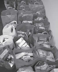 Thanksgiving food baskets put together by SDC youth and staff.