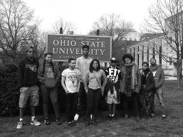Douglas Lockwood (from left to right), Taylor McKnight-Lopez, Carlos Cortez, Lance Allen, Teyah Thompson, Khalil Evans, Virnette Adams, Marshaya Hamilton and Eric Burks at Ohio State during the SDC Spring College Tour.