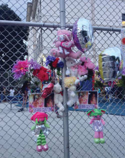 Photo from the vigil in memory of Sierra Guyton held at Clark Street School's playground
