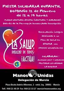Cartel de la fiesta solidaria infantil manos unidas