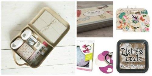 1. Caja Craft Holamama shop 2. Sellos de mariposas 3. Troquel circular 4.