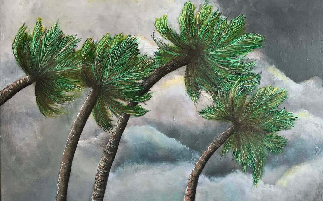 Palm Trees Bend But Don't Break – Acrylic Painting on Canvas