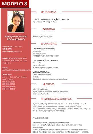 Gerador De Curriculum Vitae Online  Com Foto   Modelos De Currculo