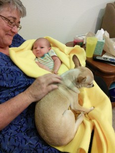 Grandma loves her grandbaby and Tobi is very protective of her, Denver is not even allowed to look when Tobi is around