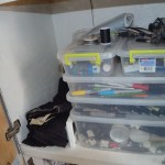Then the five drawers which have my clothes, the bottom drawer is my 'laundry hamper' and on the far side, the top cabinet houses all of my art supplies and camera gear.