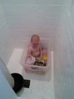 This is how Hazel bathes in the tiny house :) She knows no different and lovesher bath time!