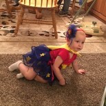 Hazel in her costume, she did SUCH a good job keeping up with her cousin