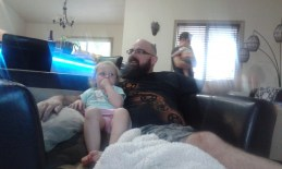 Root beer and cartoon with the uncles! Hazel loves it!