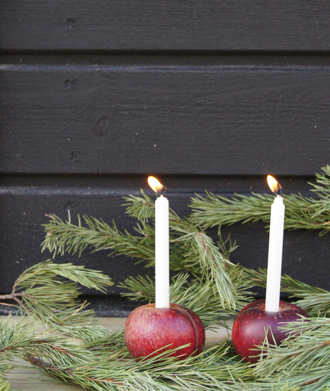 Mini Piccolini | Make red apple candle holders for a truly Scandinavian Christmas