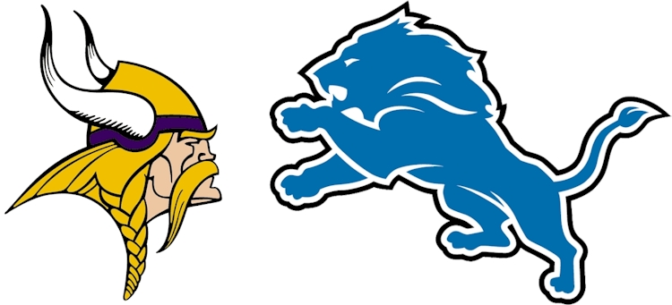 Graphic of Vikings and Lions logos facing off