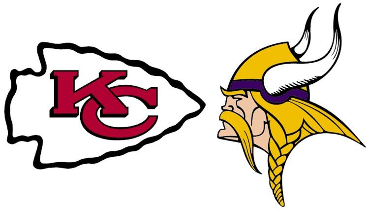 Kansas City Chiefs & Minnesota Vikings logos facing off.