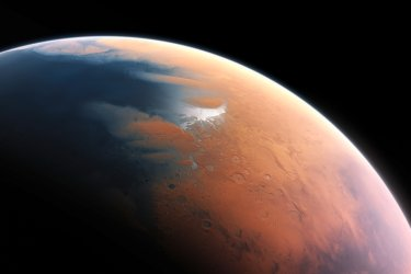 This artist's impression shows how Mars may have looked about four billion years ago. The young planet Mars would have had enough water to cover its entire surface in a liquid layer about 140 metres deep, but it is more likely that the liquid would have pooled to form an ocean occupying almost half of Mars's northern hemisphere, and in some regions reaching depths greater than 1.6 kilometres.