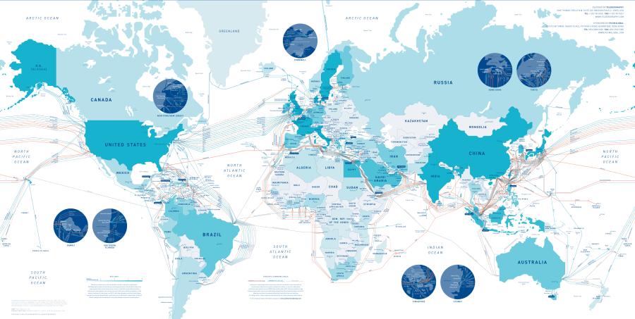 Esquema dels cables submarins de dades. (Cliqueu per veure una versió interactiva) / Telegeography