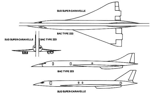 Conceptos avión supersónico británico (BAC Type 223) y francés (Sur Super-Caravelle). Su planta era similar a la que acabó teniendo el Concorde. / Bristol Aero