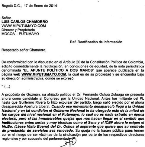 Solicitud de Rectificación – Representante Fernando Ochoa