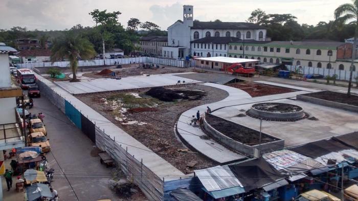 Modernización del Parque Central de Puerto Asís: se adelanta a buen ritmo