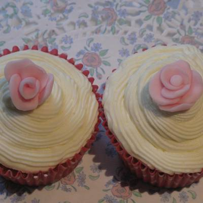 Quince Cupcakes with Rose Buttercream